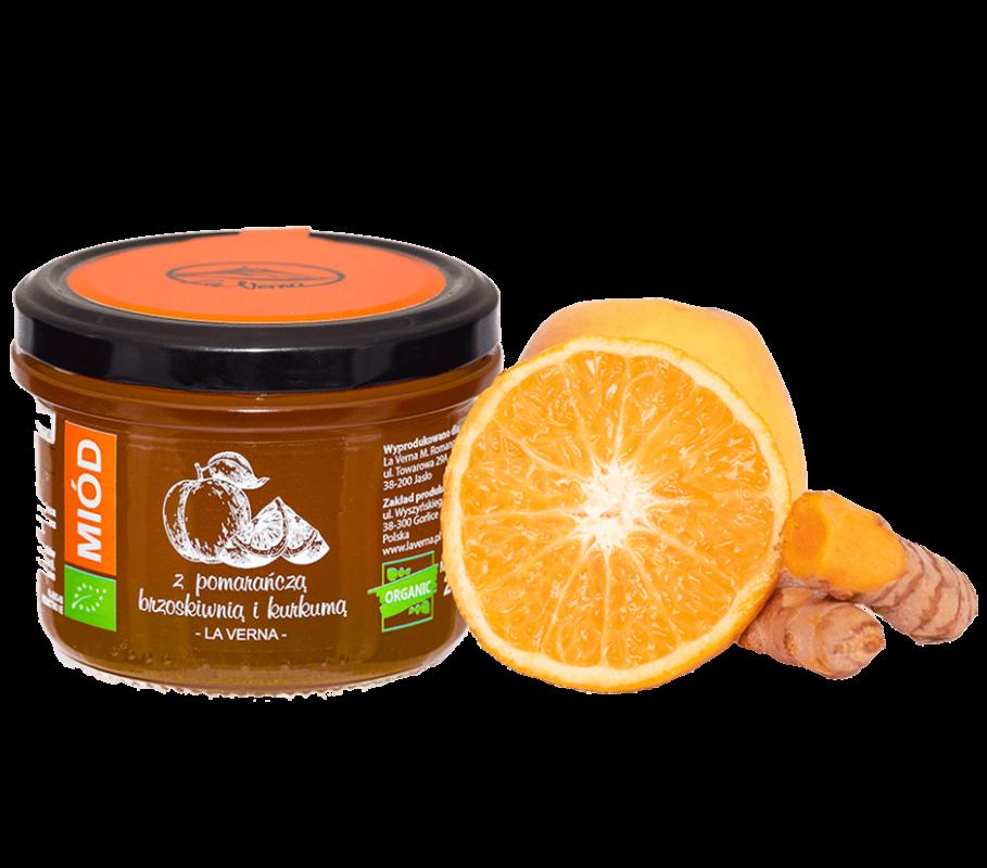 laverna-miod-honey-pomarancza-brzoskwinia-kurkuma-eco-bio-organic